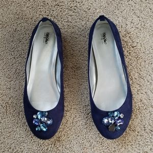 Mossimo Ballet Flat Blue Faux Suede